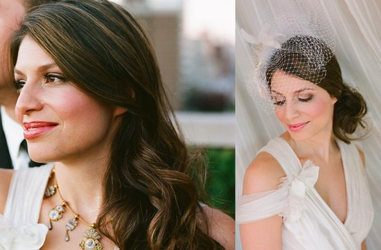 bride wears two wedding hairstyles all down up with birdcage veil