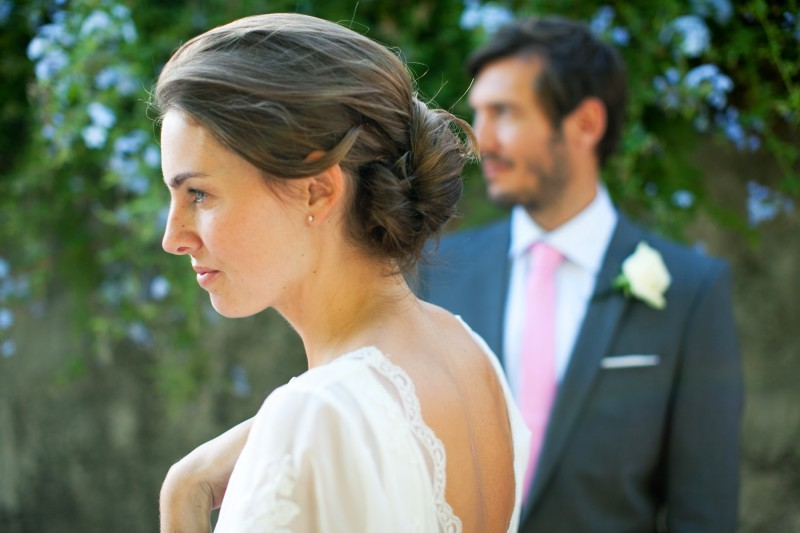 chic wedding hairstyle soft chignon at nape of neck 1