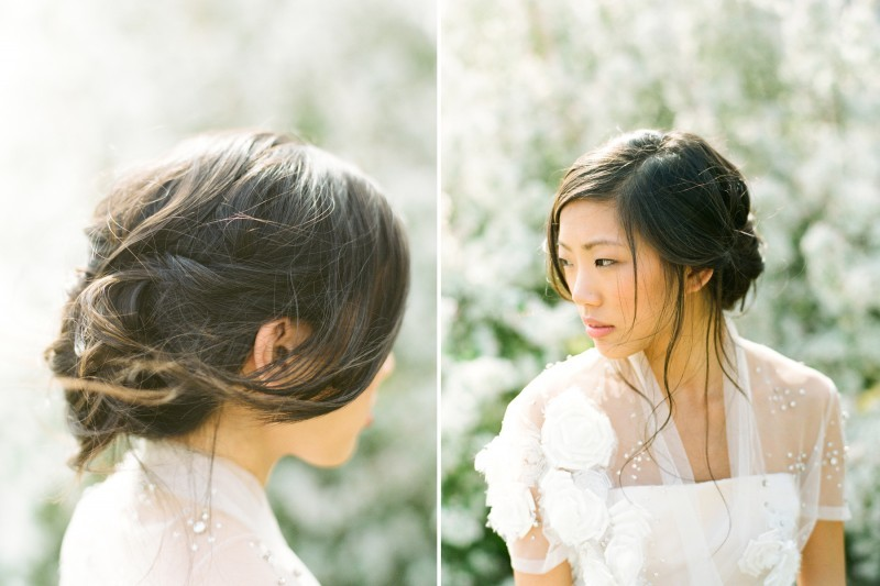 romantic wedding hairstyles loose chignon side part