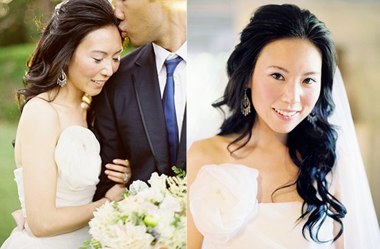 Elegant half up wedding hair with waves