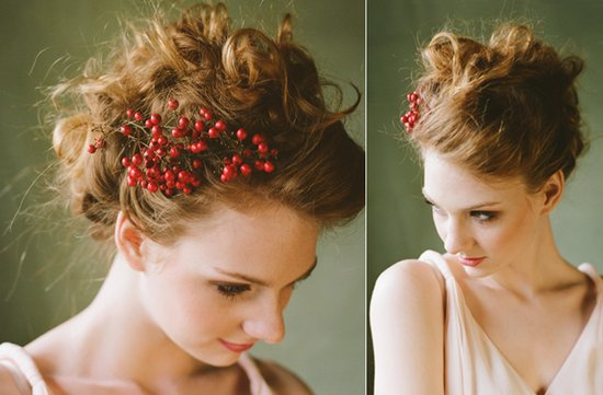 romantic bridal updo wedding hairstyles red berry accent