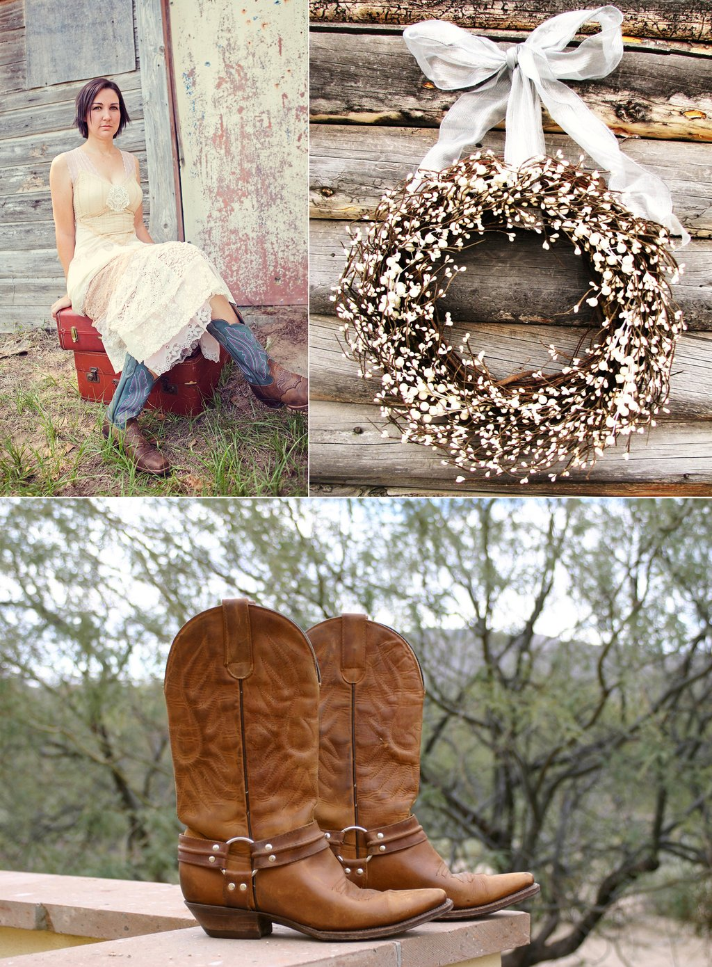 Country-western-themed-wedding-bride-wears-cowboy-boots-rustic-reception-decor.full