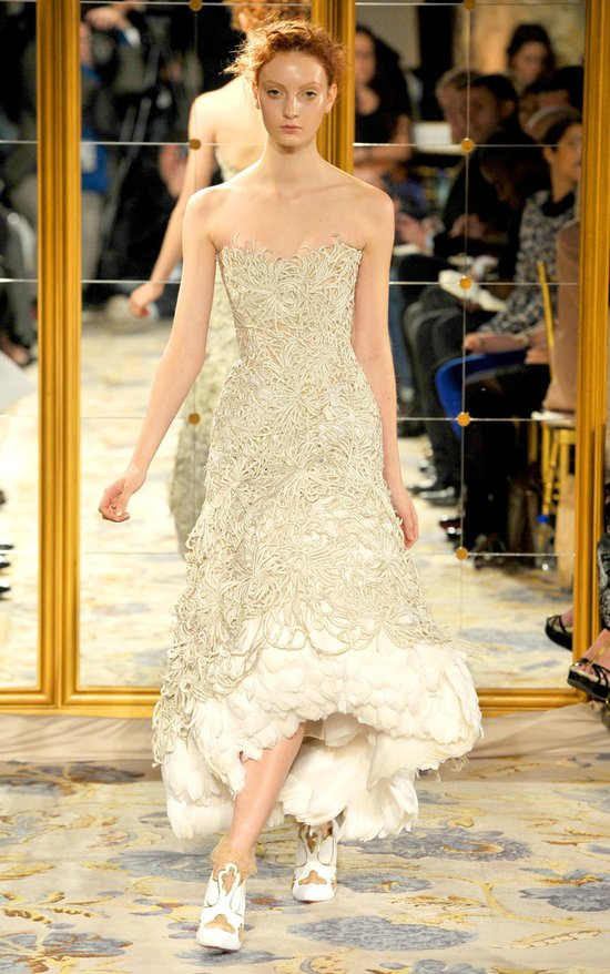 Fall 2012 wedding dress inspiration Marchesa RTW asymmetrical hem