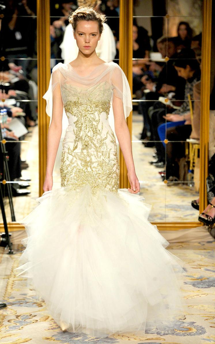 Fall 2012 wedding dress inspiration marchesa rtw for Wedding dresses asymmetrical hemline