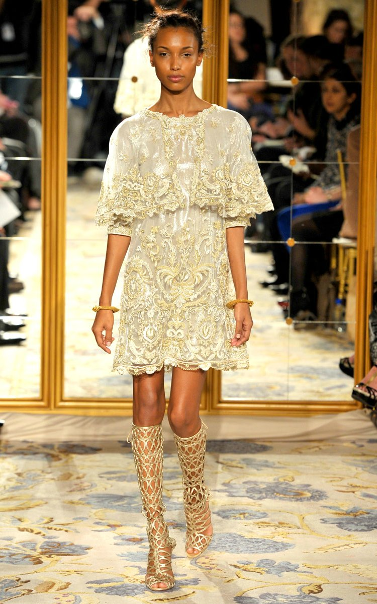 Fall 2012 wedding dress inspiration Marchesa RTW cap sleeved little white dress gold embroidery