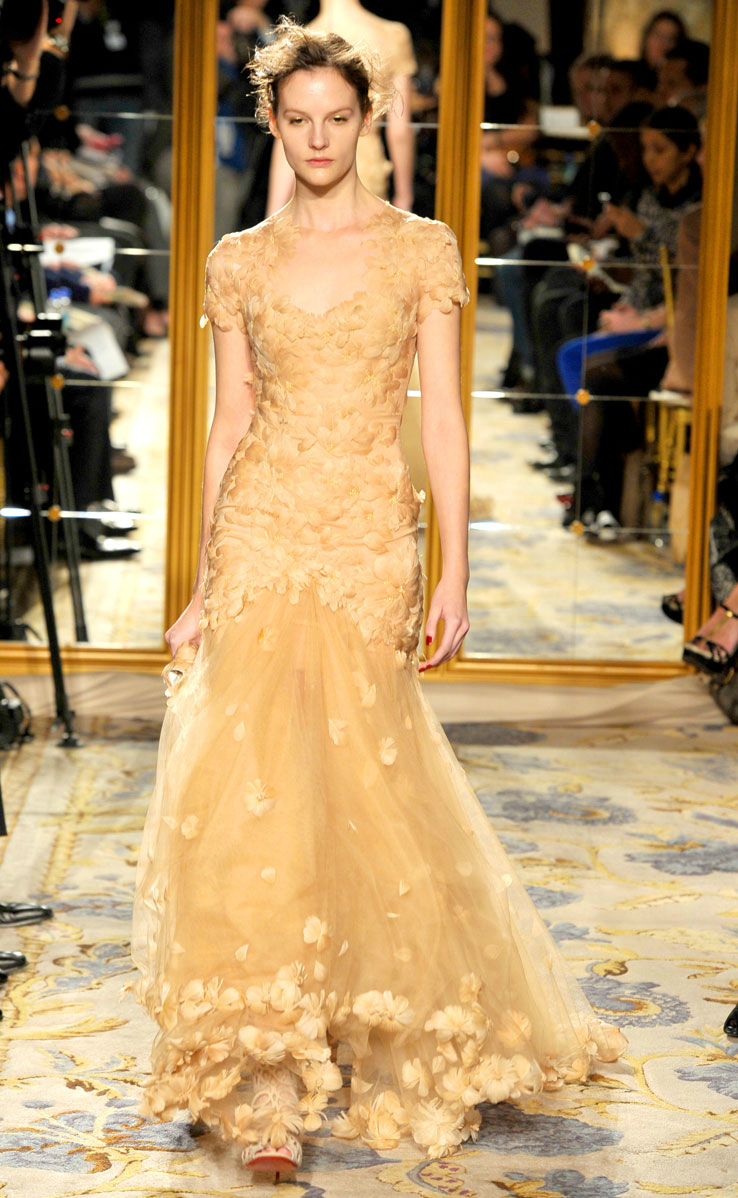 White And Gold Mermaid Wedding Dresses : Fall wedding dress inspiration marchesa rtw cap