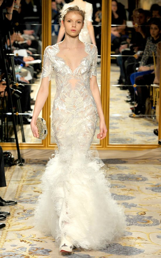 Fall 2012 wedding dress inspiration Marchesa RTW modified mermaid strapless