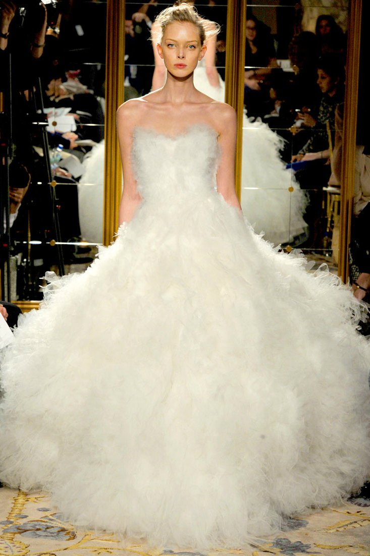 Fall 2012 wedding dress inspiration Marchesa RTW frothy white ballgown