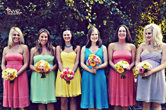 bright bridesmaid bouquets mix and match bridesmaid dresses