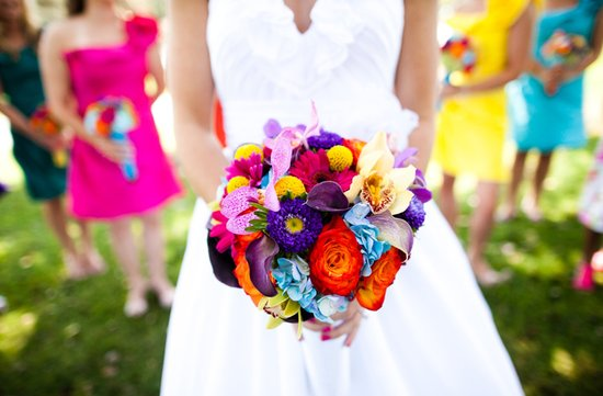 vibrant bright bridal bouquets colorful mix and match bridesmaid dresses