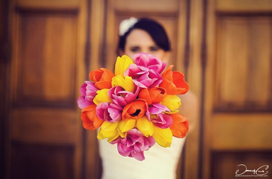 bright orange yellow pink wedding flowers bridal bouquet