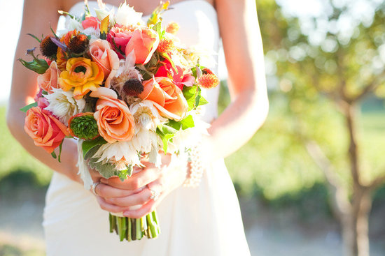 whimsical bridal bouquet bright elegant wedding flowers