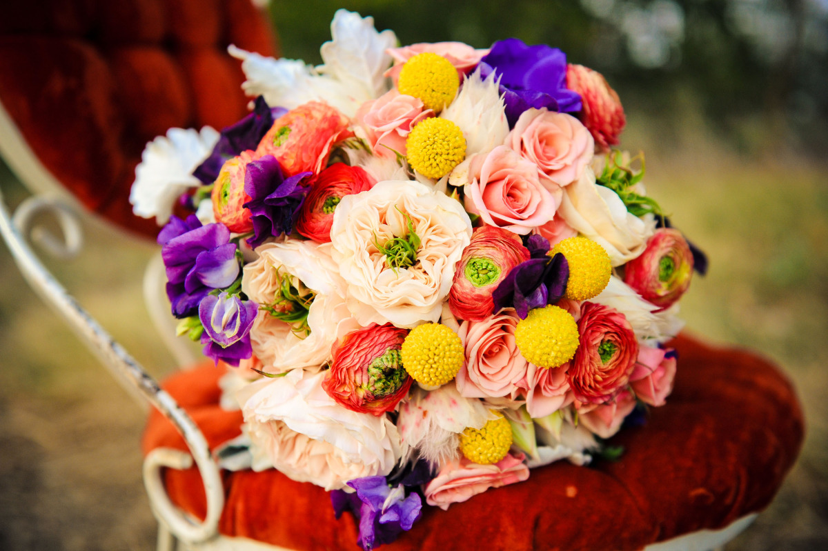 Wedding Flowers Red And Yellow : Bright bridal bouquet purple red yellow onewed