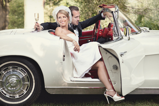 bride groom vintage wedding car white corvette