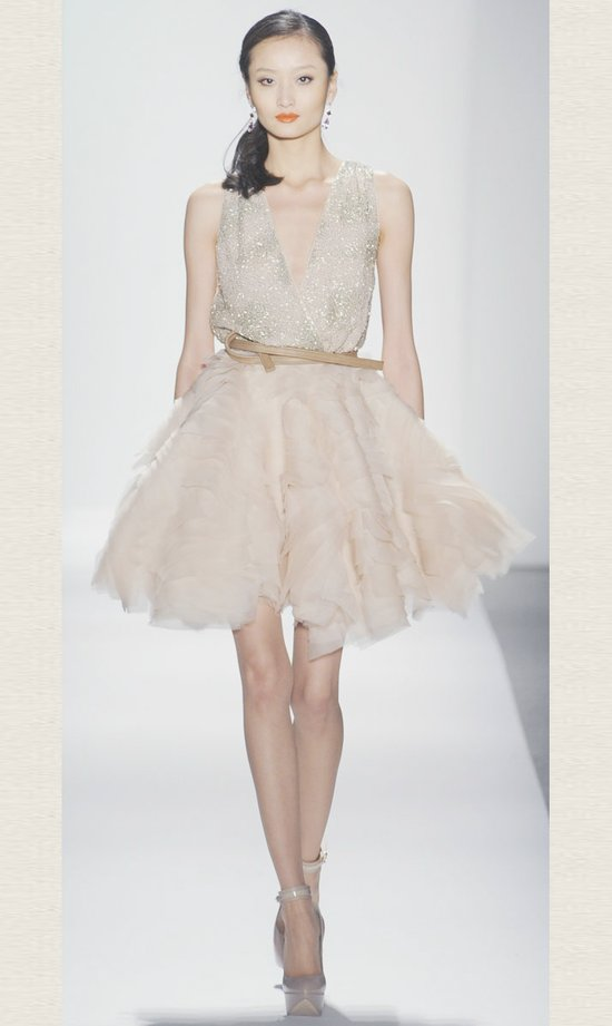 Little white wedding reception dress dennis baso spring 2012 Dresses for wedding reception