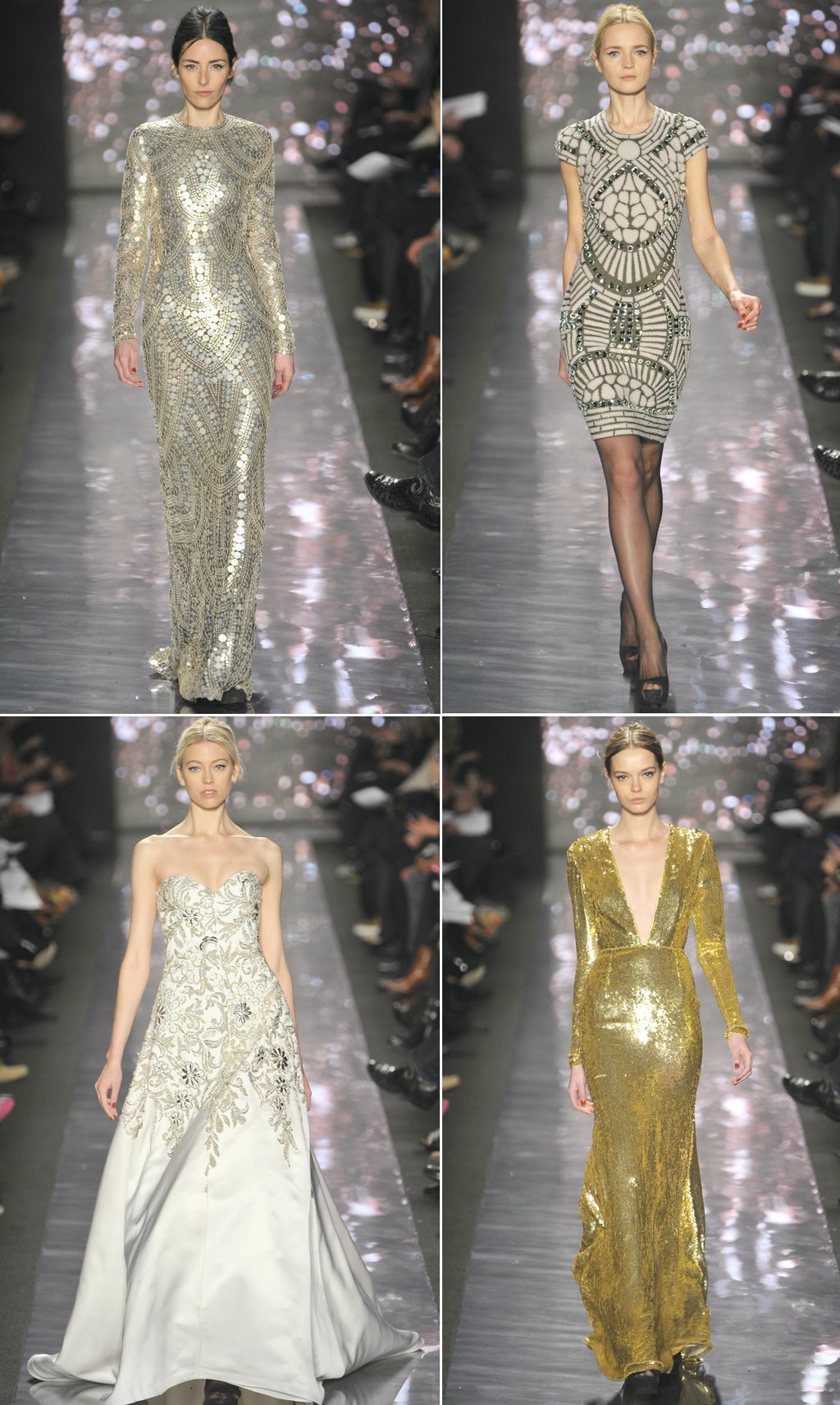 chic 2012 bride wedding dress inspiration Spring 2012 RTW Naeem Khan gold silver gowns
