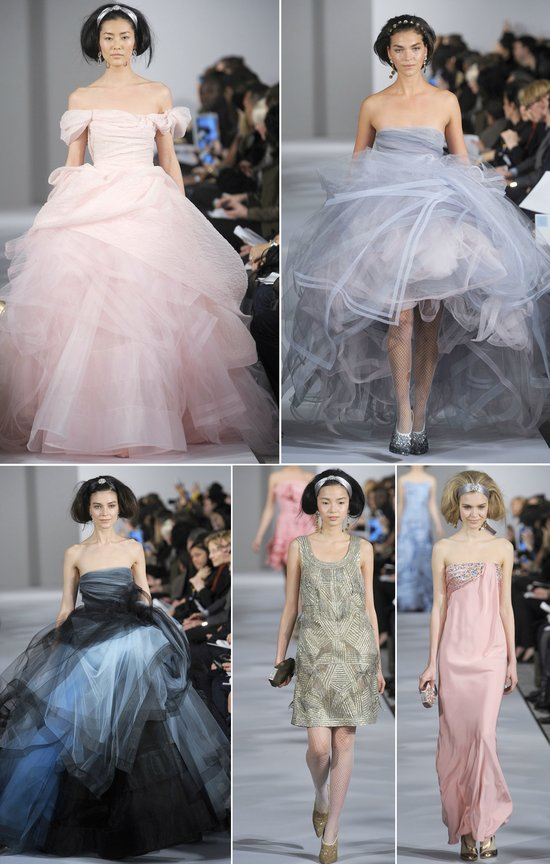 Frothy pastels from Oscar de la Renta Spring 2012 RTW for non-white wedding dress inspiration
