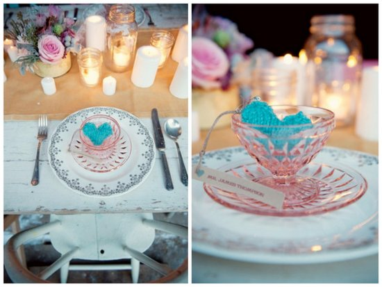 vintage valentines day wedding ideas pink blue reception place setting