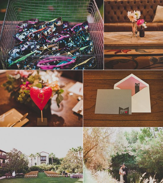 vintage modern california wedding love themed decor