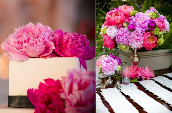 bright pink wedding flowers classic wedding cake