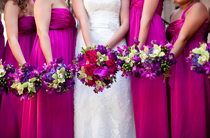 Hot-pink-bridesmaids-dresses-long-tropical-bouquets.full