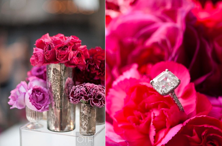Hot pink wedding flowers centerpieces diamond engagement
