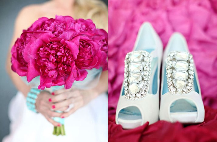 hot pink bridal bouquet crystal encrusted wedding shoes