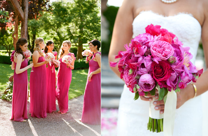 Hot pink bridesmaids dresses elegant magenta bridal for Magenta dress for wedding