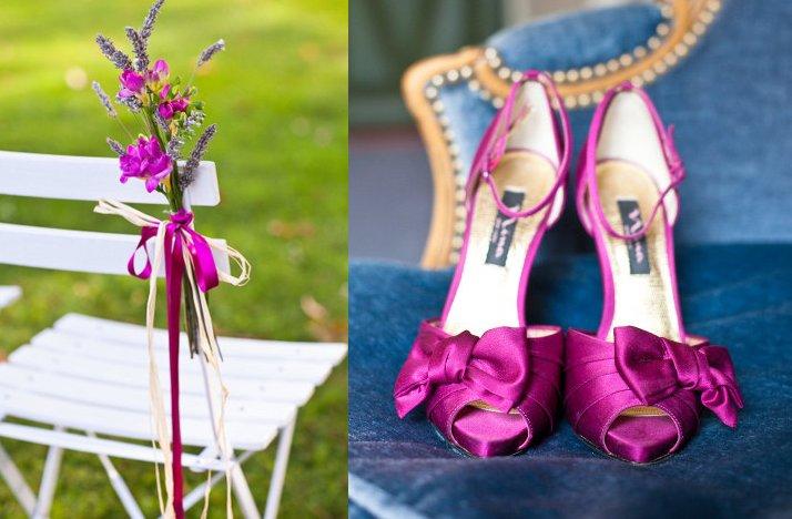 Magenta Wedding Shoes Satin Outdoor Ceremony Flowers