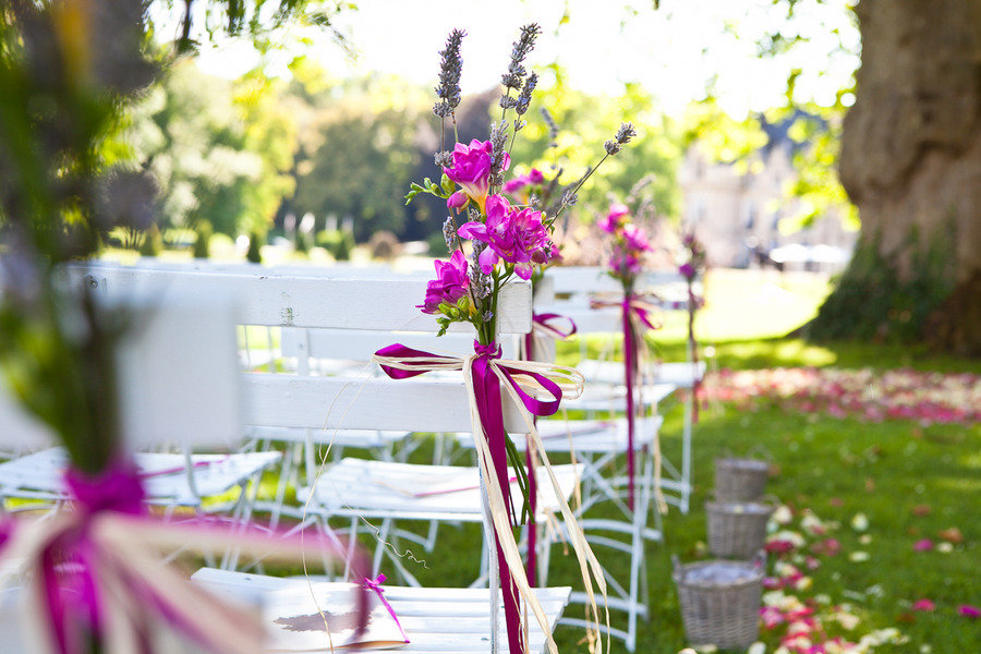 Wedding Ceremony Outdoor Venue Magenta Wedding Flowers