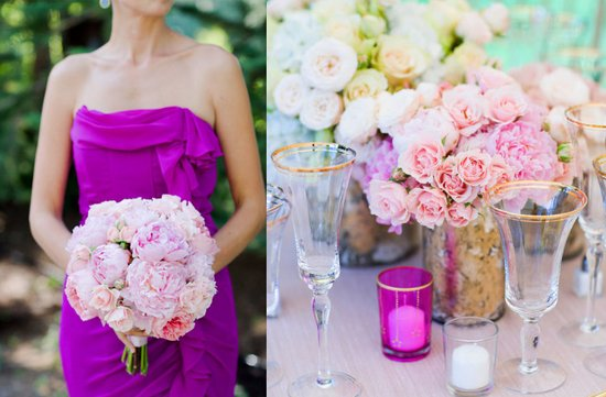 bridesmaid wears magenta strapless dress romantic bridesmaid bouquet