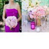 Bridesmaid-wears-magenta-strapless-dress-romantic-bridesmaid-bouquet.square