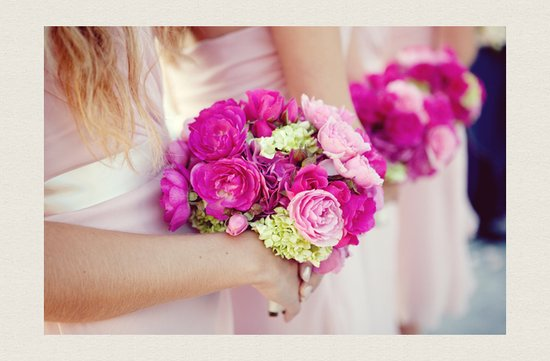 magenta bridesmaids bouquets pink gowns