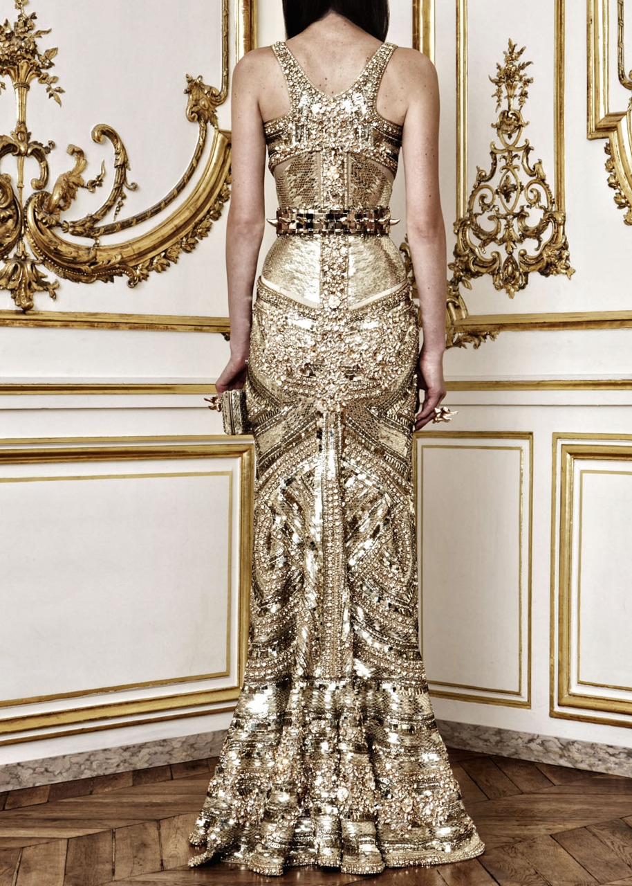 Gold gilded wedding dress alexander mcqueen for Golden dresses for a wedding