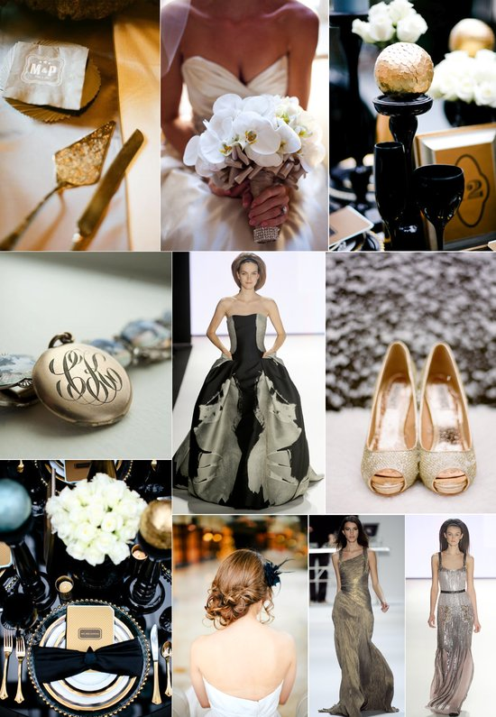 black metallic wedding color palette elegant black tie