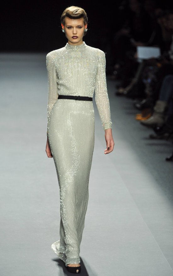 jenny packham RTR fall 2012 little white dress sparkly column gown with sleeves