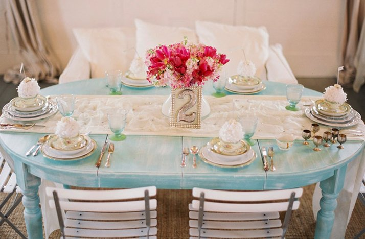 Blue Silver Wedding Reception Tabletop Pink Flowers