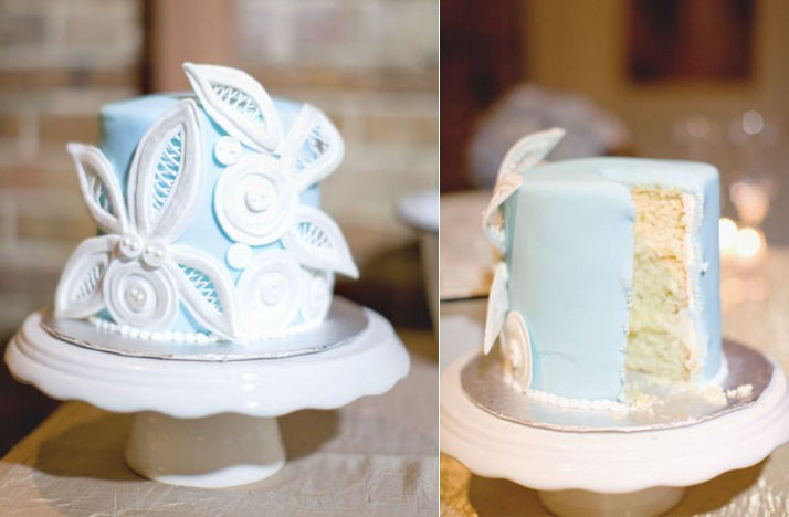 Light Blue White Wedding Cake Winter Reception Ideas