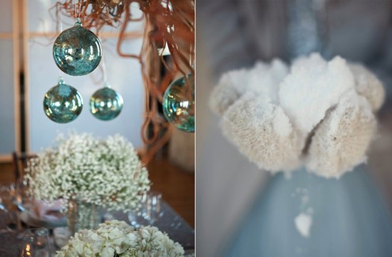 winter wedding ideas babys breath reception centerpieces