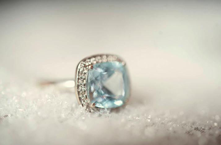non engagement ring cushion cut blue gemstone
