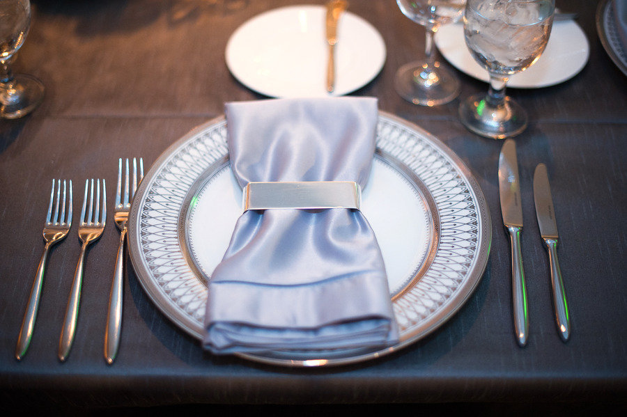 & ice blue silver wedding colors reception table place setting