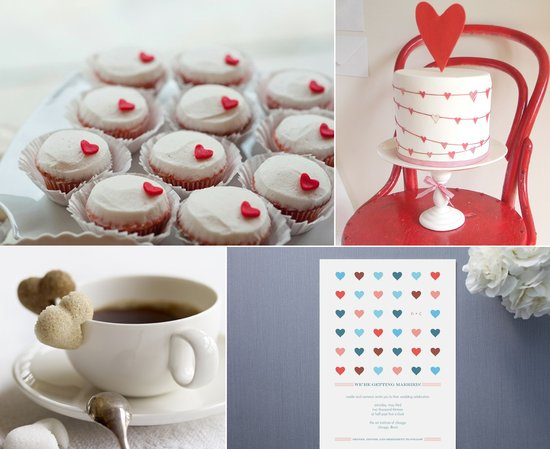 valentines day wedding inspiration reception cupcakes heart adorned wedding cake