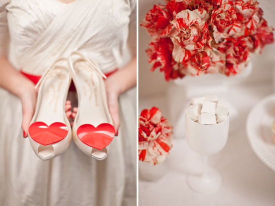 valentines day wedding inspiration ivory red wedding shoes reception centerpiece