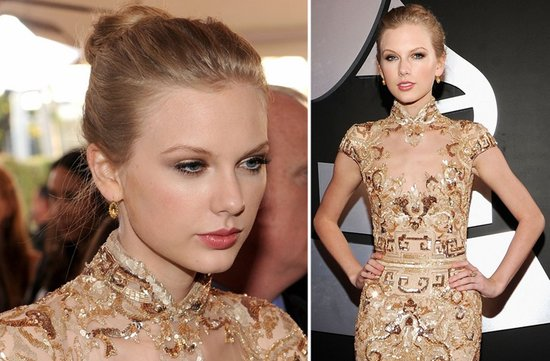 2012 grammys taylor swift wedding hair ballerina bun natural bridal makeup