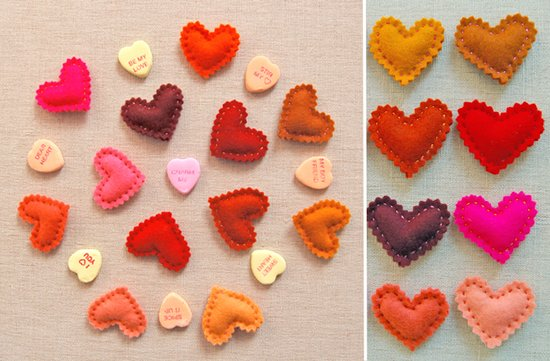 valentines themed wedding DIY projects felt hearts