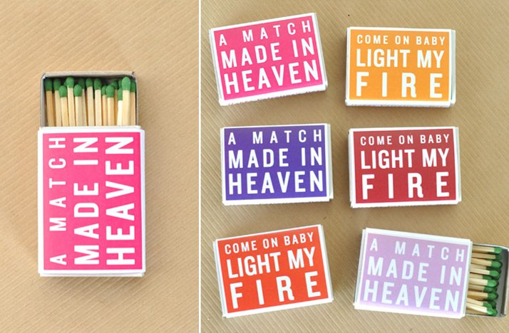wedding favors love themed matches