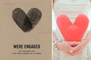 photo of valentines day wedding inspiration heart thumbprint save the date