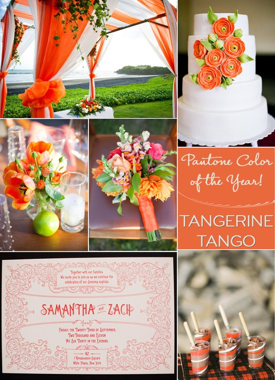 wedding color palettes bright orange tangerine 2012 color of year