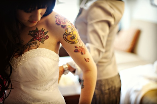 tatted up bride winter wedding