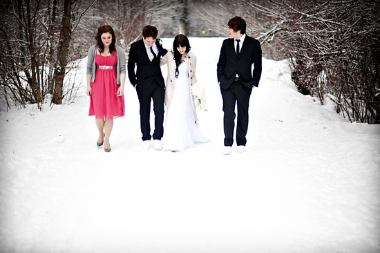 winter wedding bride groom best man MOH